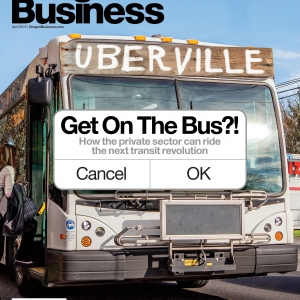 Oregon Business Cover April 2015 Bus with destination Uberville