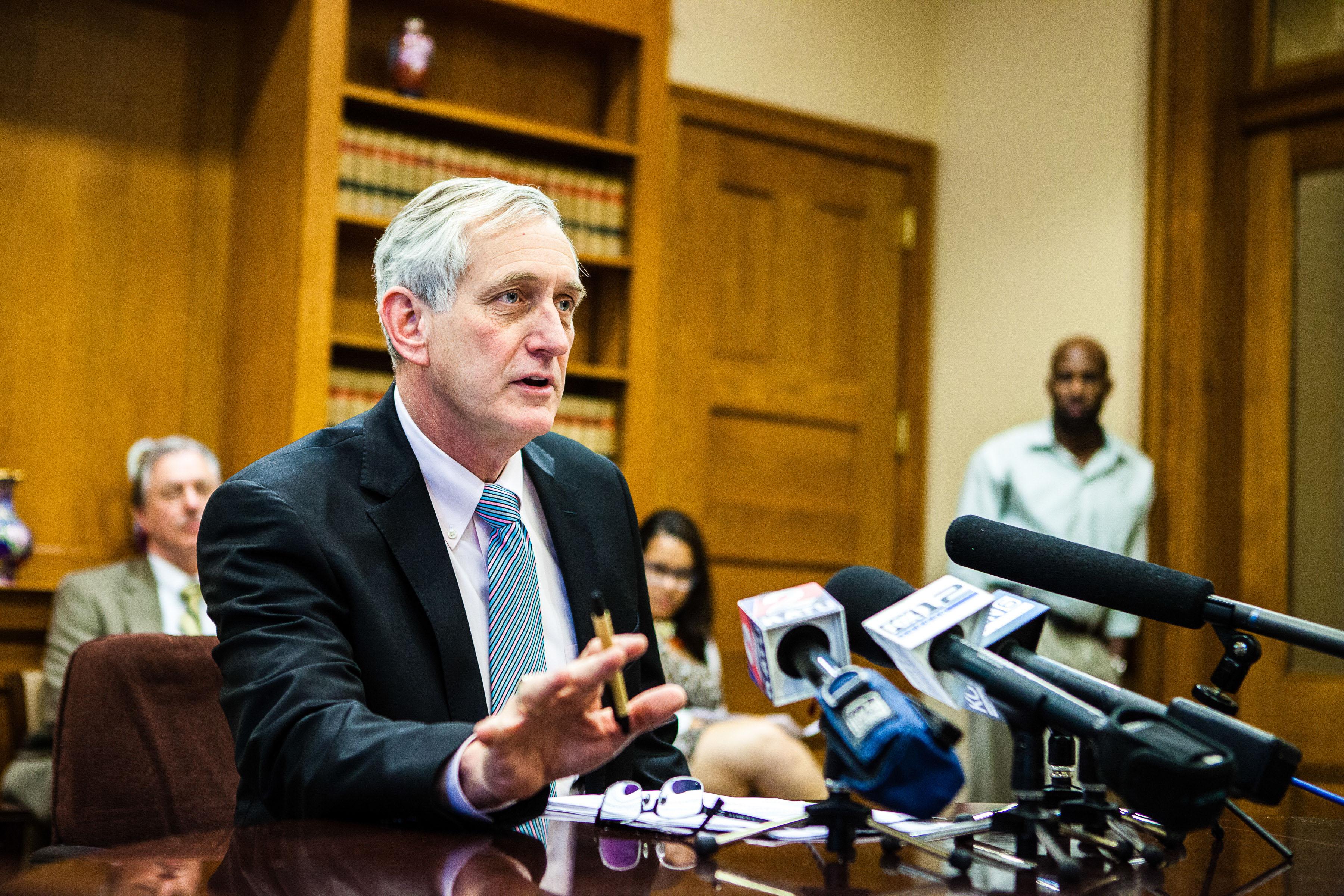 Mayor Charlie Hails talks to press in Portland Oregon
