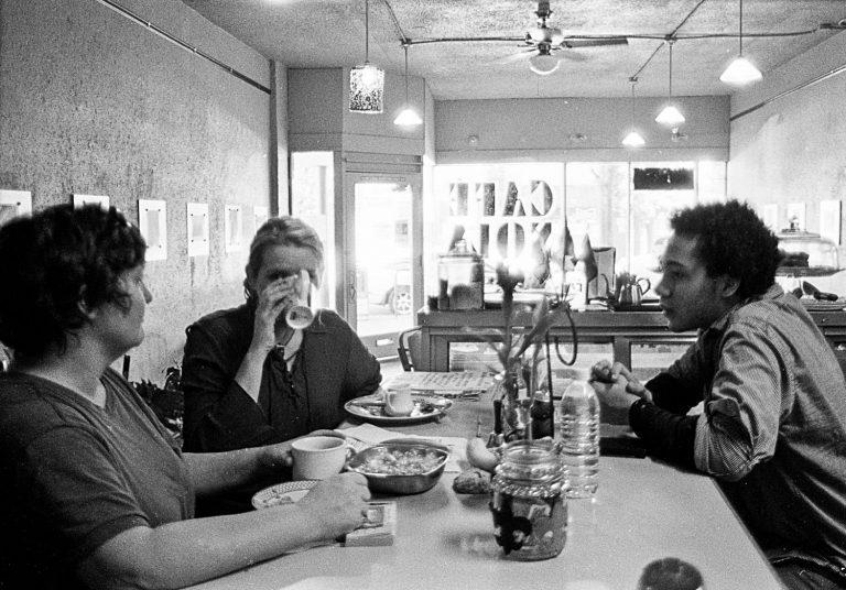 Cafe Nola patrons enjoy a meal in portland oregon neighborhood st. johns
