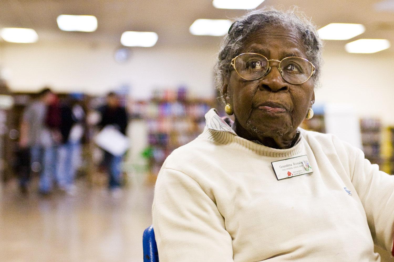 Grandma Rosalie sits at youth center