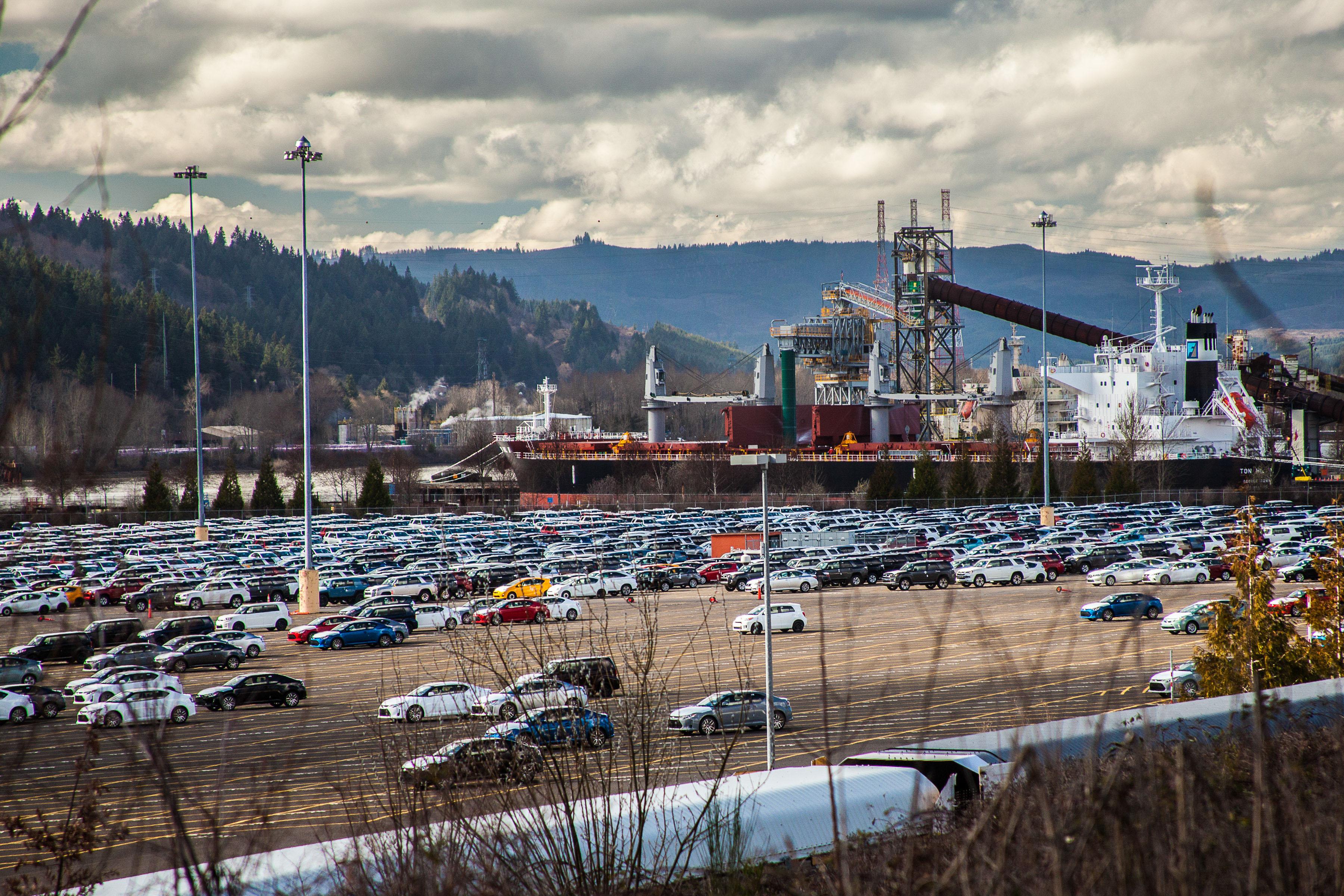 Parking lot cars unloaded at Terminal 4 Portland Oregon