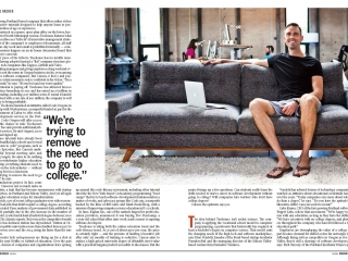 Ryan Carson College Hacker sits on couch in office