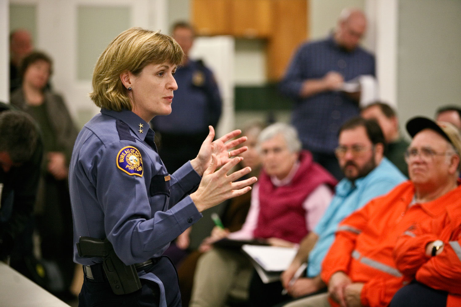 Portland police chief Rosie Sizer talks at town hall meeting about the closure of N Portland Precinct