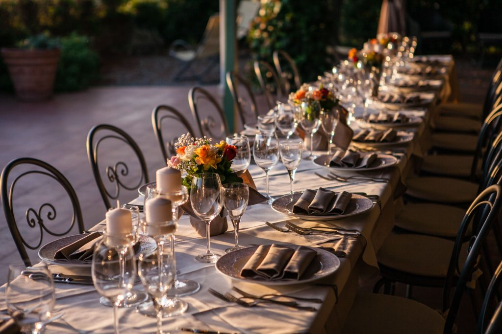 tuscany detail reception table setting